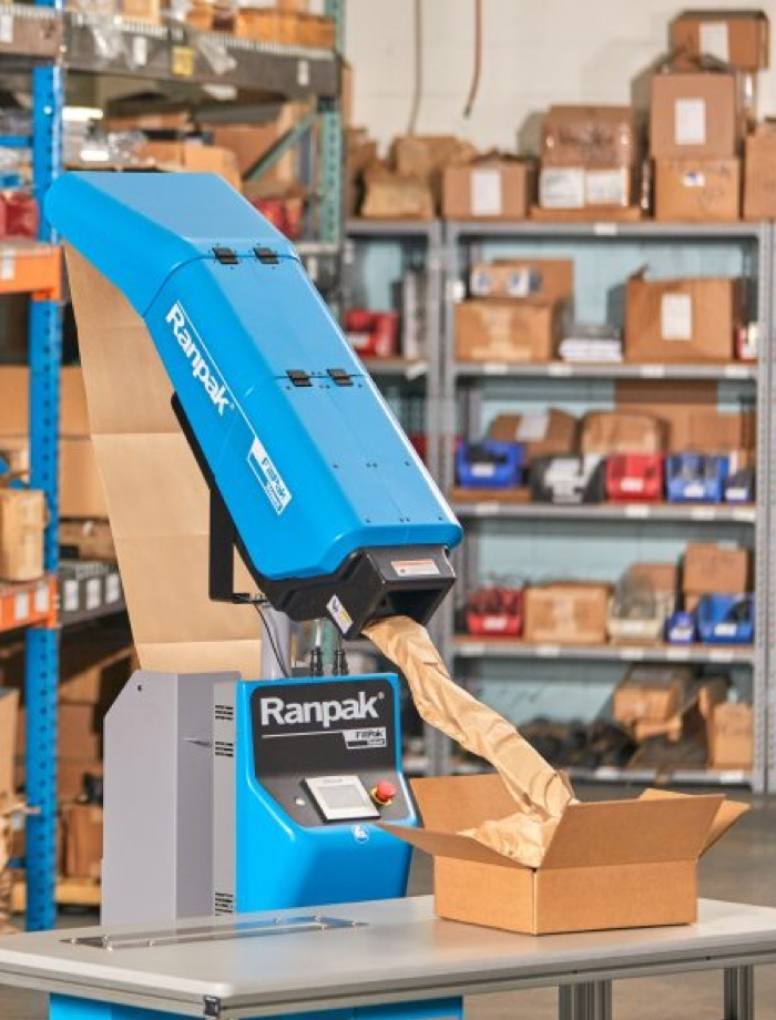 Ranpak machine packaging goods.